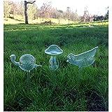 Set of 3 Small Hand Blown Clear Glass Self Watering Aqua Globes in Different Shapes (Mushroom, Bird, Snail)