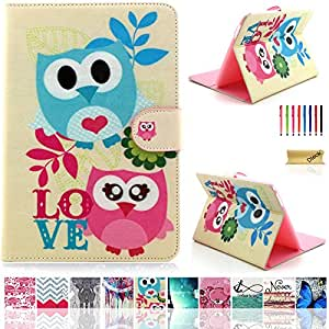 Tab 4 10.1 Inch Case,Dteck(TM) Magnetic Painting Pattern PU Leather Shockproof Flip Wallet Case Cover[Stand Feature][Card Slot]for Samsung Galaxy Tab 4 10.1 Inch SM-T530/T531/T535 (2 Two owls)