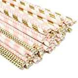 ZOOYOO Paper Straw 100pc For Parties,Birthdays,Weddings,Baby Showers And Celebrations (Pink/Gold) (Color: Pink/Gold)