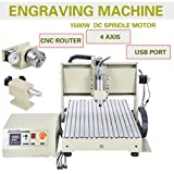 ZHFEISY Engraving Machines - 4 Axis USB 1.5KW VFD 6040 CNC Router Engraver Engraving Drilling Milling Carving Machine 3D Cutter Desktop With RC For?Soft Metal/Aluminum/Copper/Silver/Gold/Wood/Plasti?