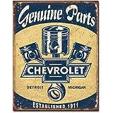 Chevrolet Chevy Genuine Parts Pistons Distressed Retro Vintage Tin Sign