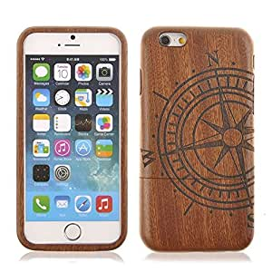 Sea Compass Unique Eco-Friendly 100% Hand-made Real Natural Wood/Bamboo Hard Shell Case for iPhone 6 (4.7 Inch Screen)(WD-I6-7)