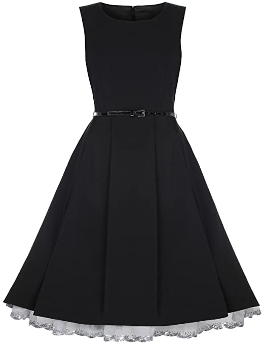 Lindy Bop 'Talia' Classy Vintage 1950's Pleated Flared Dress (XS, Black)