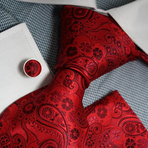 Red Patterned Woven Silk Tie Hanky Cufflinks Present Box Set red gift ideas for men Pointe Tie PH1067