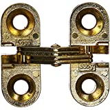 """SOSS Mortise Mount Invisible Hinges with 4 Holes, Zinc, Satin Brass Finish, 1"""" Leaf Height, 3/8"""" Leaf Width, 15/32"""" Leaf Thickness, #5 x 3/4"""" Screw Size (1 Pair)"""
