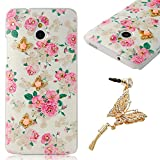 YOKIRIN HTC One Mini Bling PC Hard Case Cover Protector Case Cover Phone Case Cell Phone Shell Shell Back Cover Back Flowers & Gold Butterfly & White Rhinestone + 1 x Butterfly Dust plug