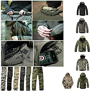 Soft Shell Waterproof Windproof Tactical Outdoor Sport Military hooded Army jacket (coat) and pants for Hiking Hunting and Camping. Black Green Gray Camouflage. M, L, XL, XXL