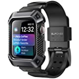 Apple Watch 4 Case 44mm 2018, SUPCASE Rugged Protective Case with Strap Bands for Apple Watch Series 4 [Unicorn Beetle Pro] (Black) (Color: Black)