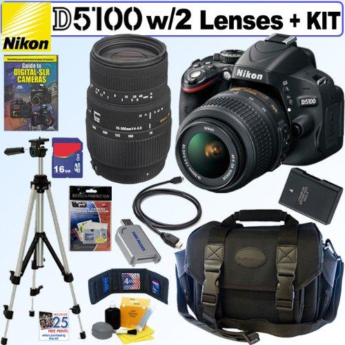 Nikon D5100 16.2MP CMOS Digital SLR Camera with 18-55mm f/3.5-5.6 AF-S DX VR Nikkor Zoom Lens and Sigma 70-300mm f/4-5.6 SLD DG Macro Lens with built in motor + EN-EL14 Battery + 16GB Deluxe Accessory Kit