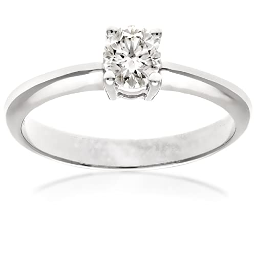 Naava 18ct 4 Claw Engagement Ring, D/SI2 EGL Certified Diamond, Round Brilliant, 0.30ct