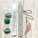 Crystal Healing Set 16 Rose Quartz Pendulum Aventurine Kyanite Selenite Wands