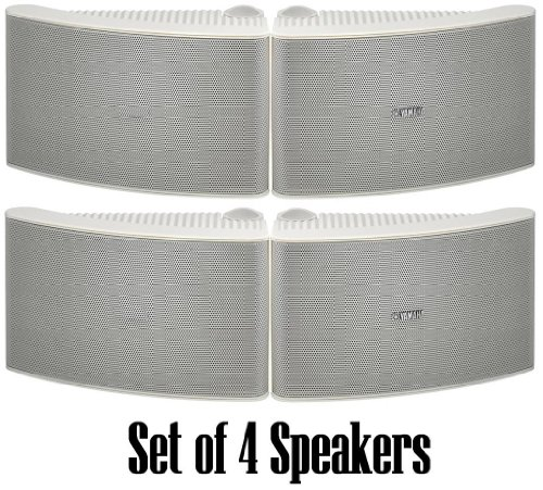 Yamaha All Weather Outdoor / Indoor Wall Mountable Natural Sound 180 watt 2 way Acoustic Suspension Speakers - Set of 4 - White - with 100ft 16 AWG Speaker Wire - Compatible with All Audio / Video Home Theater Sound Systems, Components, CD Players, or Receivers - Also Designed for Book Shelf or Desktop Use