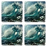 Heavy Rain On The Eve Of The Sea Waves Square Coaster (4 Piece) Set Fabric Rubber 5 Inch Size Liil Coaster Cup Mug Can Water Bottle Drink Coasters Stain Resistance Collector Kit Kitchen Table Top Desk