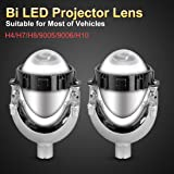 High Power LED Bi-Xenon Projector Lens Headlights Kit - H4/H7/H8/9005/9006/H10, SUPAREE Upgrade 35W 6000K LED Retrofit Headlights(Pair) - 1 Year Warranty