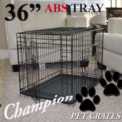 """Champion Dogs 36"""" 2 Door Folding Metal Wire Dog Cage Crate Kennel With Abs Tray (Black) front-52376"""