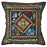 Lalhaveli Bright Stunning Floral Design Embroidered Mirror Work Cotton Single Cushion Cover 16 Inches - B00MY0PCOI