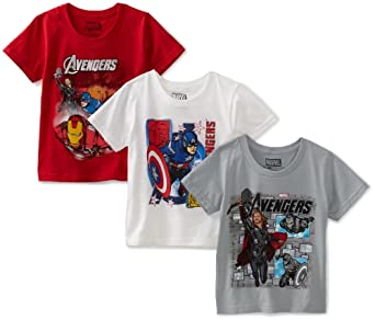 Fruit of The Loom Little Boys' Funpals The Avengers 3 Pack Crew Shirt, Assorted, 4