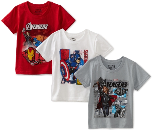 Fruit of the Loom Boys 2-7 Funpals The Avengers 3 Pack Crew Shirt