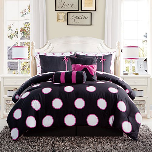 with bedding modern bed black set white comforter dot teen sheets amazon bag pink kids girls polka com dp