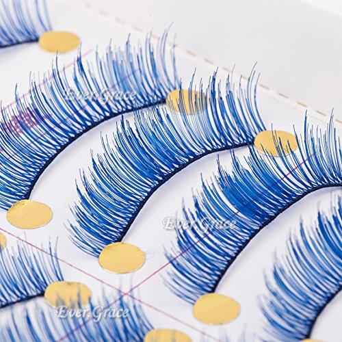 Makeup 10 Pairs Fancy Blue Color Soft False Eyelashes Eye Lashes Handmade Soft (Blue False Eyelashes compare prices)