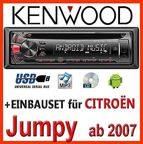 CITROËN jumpy à partir de 2007 pour autoradios kenwood kDC - 164 uR autoradio cD/mP3/uSB avec kit de montage