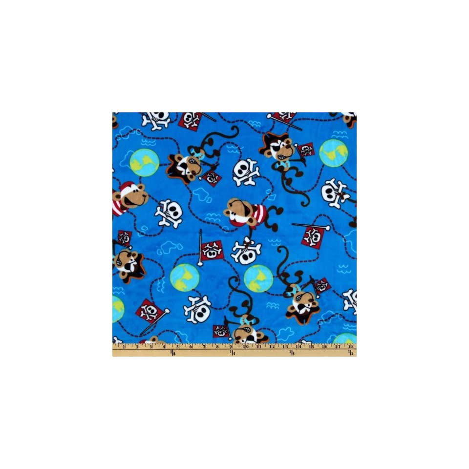 60 Wide Minky Pirate Monkey Cuddle Azure Fabric By The Yard