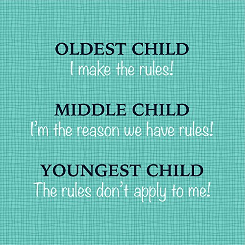 Oldest Middle Youngest Child 10 x 10 inch Humorous Wood Decorative Sign Plaque