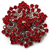 Vintage Red Rhinestones Flower Shaped Brooch Pin BR94