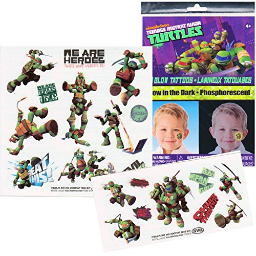 TMNT Teenage Mutant Ninja Turtles Glow in the Dark Temporary Tattoos - Raphael, Donatello, Leonardo, and Michelangelo!