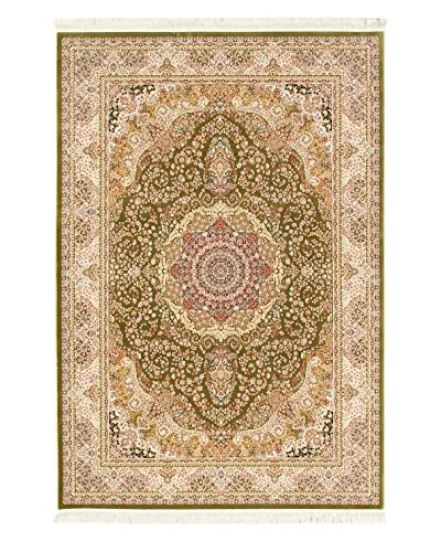Hand Loomed King David Rug, Light Green, 3' 11 x 5' 7
