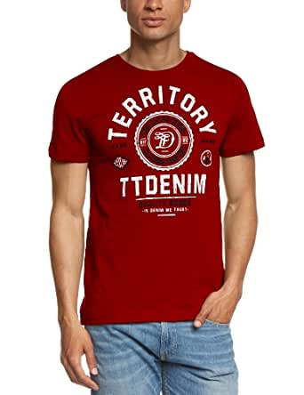 TOM TAILOR Denim - T-Shirt Homme - 2color ci print tee/406 10284920912 - Rouge (bartender red 4496) - FR : XX-Large (Taille fabricant : XX-Large)