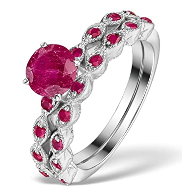 TheDiamondStore | Stacking Pair Rings- Ruby - Polished Silver