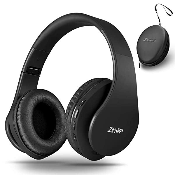 Wireless Bluetooth Headphones Over-Ear with Deep Bass, Foldable Wireless and Wired Stereo Headset Buit in Mic for Cell Phone, PC,TV, PC,Light Weight for Prolonged Wearing (Black) (Color: deep black)