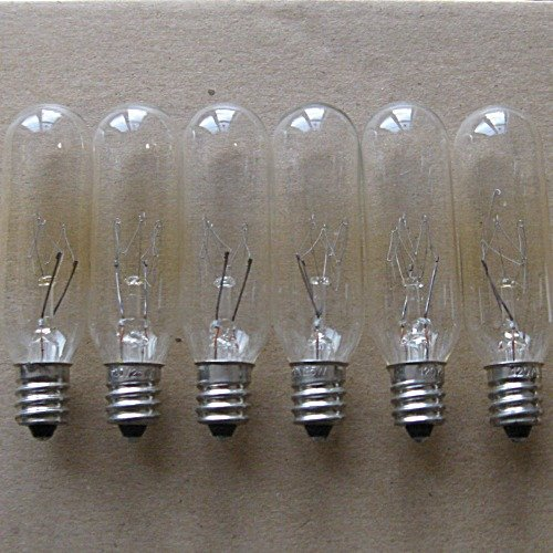 25 Watt tubular bulbs for Himalayan Salt Lamps (Package of 6 bulbs) - fits E12 Socket