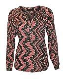 Black & Pink Aztec Silky Soft Chiffon Tunic Blouse