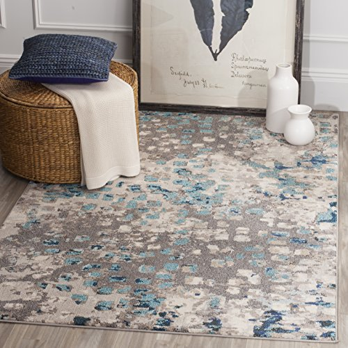 Safavieh MNC225E-8 Monaco Collection Modern Abstract Watercolor Area Rug, 8' x 11', Grey/Light Blue (Light Blue Abstract Area Rug compare prices)
