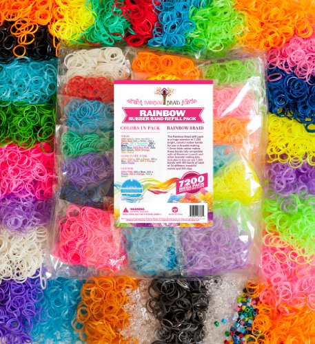 Loom Rainbow Braid Rubber Bands 7200 Refill Set 24 Colors