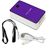ESUMIC Portable Mini Air Conditioner Travel Handheld USB Rechargeable Cooling Fan for Summer purple (Color: Purple)