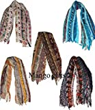 Mango Gifts Women's Lot of 5 Sari Fabric Handmade Mix Color Scarves Scarfs