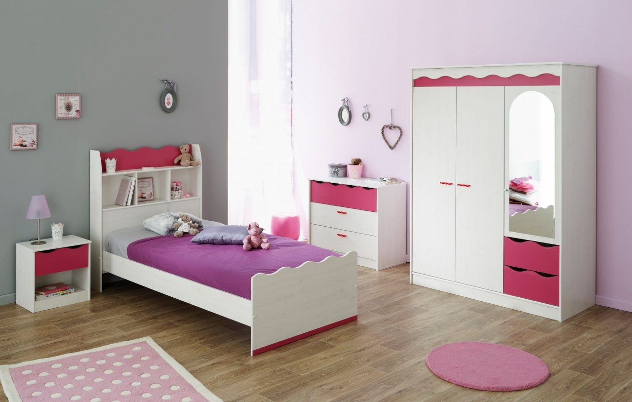 Kinderzimmer Jugendzimmer Kiefer weiß / pink 4-teilig Lilana