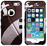 myLife Black - Football Print Series (Neo Hypergrip Flex Gel) 3 Piece Case for iPhone 5/5S (5G) 5th Generation iTouch Smartphone by Apple (External 2 Piece Fitted On Hard Rubberized Plates + Internal Soft Silicone Easy Grip Bumper Gel)