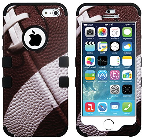 Mylife Black - Football Print Series (Neo Hypergrip Flex Gel) 3 Piece Case For Iphone 5/5S (5G) 5Th Generation Smartphone By Apple (External 2 Piece Fitted On Hard Rubberized Plates + Internal Soft Silicone Easy Grip Bumper Gel)
