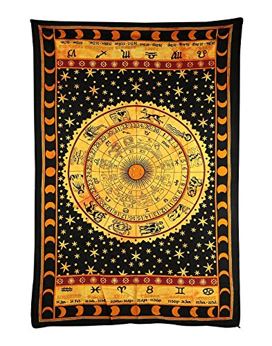 Handicrunch Black Zodiac Horoscope Tapestry, Indian Astrology Hippie Wall Hanging, Ethnic Decorative Art, Celtic Zodiac Tapestry. (85