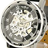 ESS Mens Black Dial Leather Strap Luxury Stainless Case Hand-Wind Up Mechanical Wrist Watch WM090