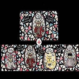 Wolala Home Cute Cartoon Star Cats Doormat Trend Fashion Geometric Triangle Patterns Washable Non-slip Kitchen Rug Runner 2Pcs Sets (1\'6x2\'6+1\'6x6\'0, Multi)