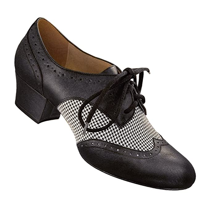 Retro Style Dance Shoes Houndstooth Spectator Oxford Wingtips Street Soles $44.95 AT vintagedancer.com