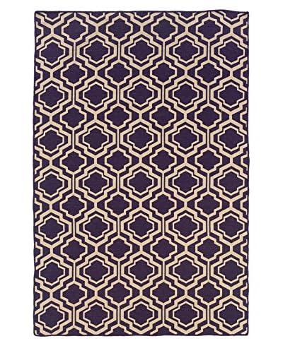 Linon Home Décor Saloniki Double Quatrefoil Rug, Purple, 5' x 8'