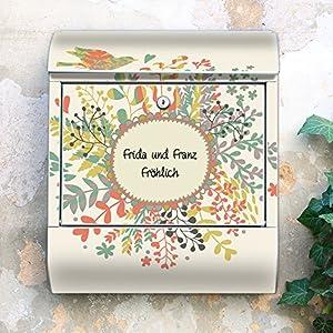 Design Briefkasten 38x42x11 von banjado mit Motiv Wunschtext Frühling