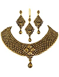 Unicorn's Beautiful Designed Ethenic Gold Plated Antique Kundan Choker Necklace Set With Earrings And Maang Tikka...
