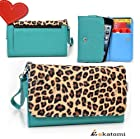 [Metro Safari] LEOPARD & BLUE GREEN | Women's Wallet Universal Phone Case with Cash & Card Holder Wrist-let fits Nokia Asha 201